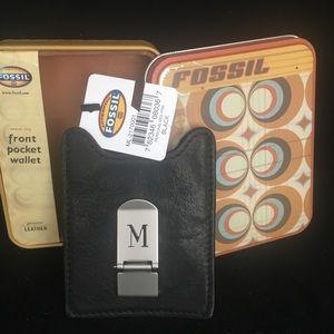 Fossil Black Men's Money Clip Card Holder New